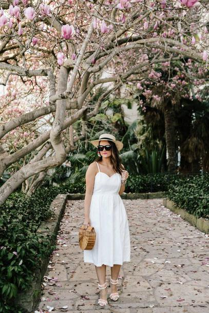thestyledfox blogger dress jewels shoes hat bag cult gaia bag white dress spring outfits sandals bamboo clutch bamboo clutch wooden clutch vue boutique hanbag