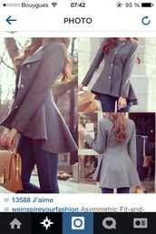 coat,grey,winter outfits,asymmetrical