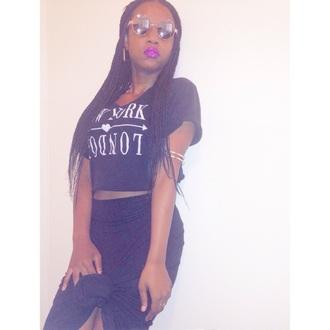 new york city purple lipstick glasses crop tops braid purple lipstick tied up black whitr white arm cuff jewels