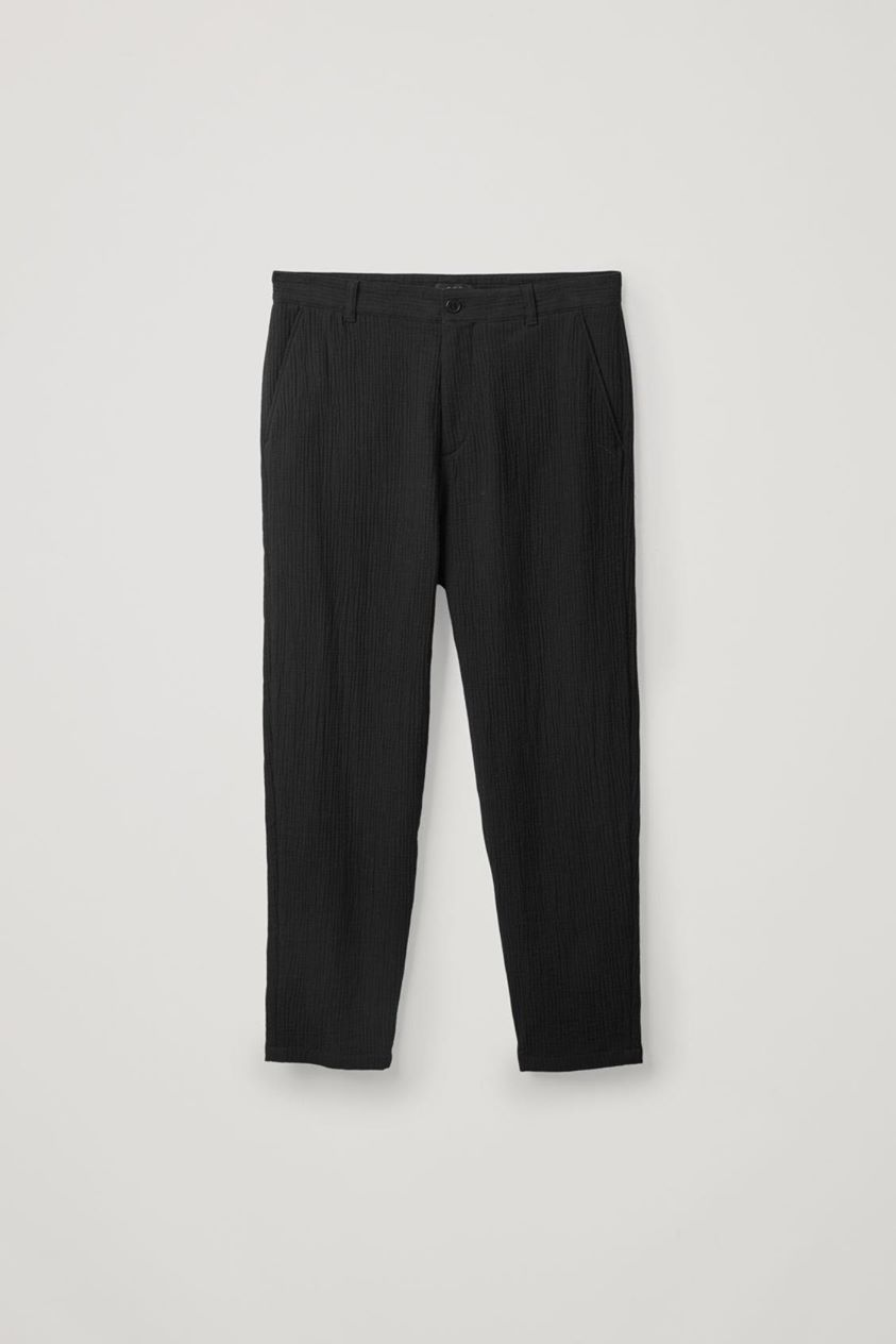 PLEATED COTTON-WOOL TROUSERS