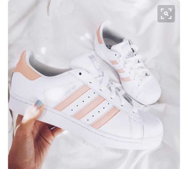 shoes colorful white sneakers nude sneakers adidas adidas superstars pink  white pastel peach adidas shoes adidas