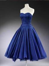 dress,tube,blue,royal blue,tube dress,knee length,sweetheart,kneelength,prom dress,vintage dress