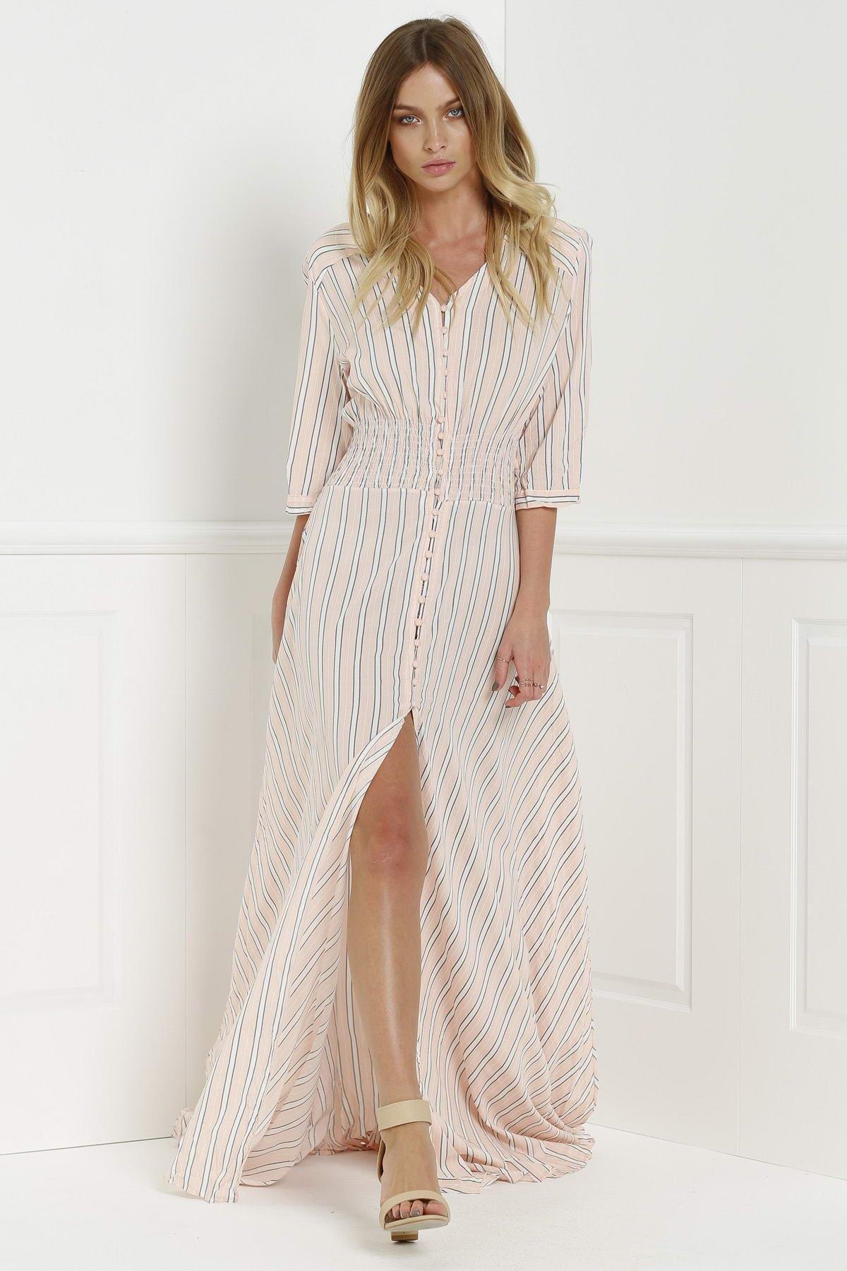 Fashionable V-Neck Stripe Slit 3/4 Sleeve Dress For Women