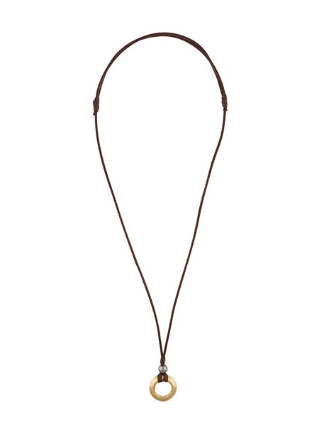 women necklace gold leather brown jewels