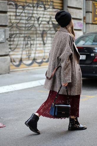 fashion and style blogger coat boyfriend coat lace skirt zara black boots oversized coat oversized black leather bag black beanie