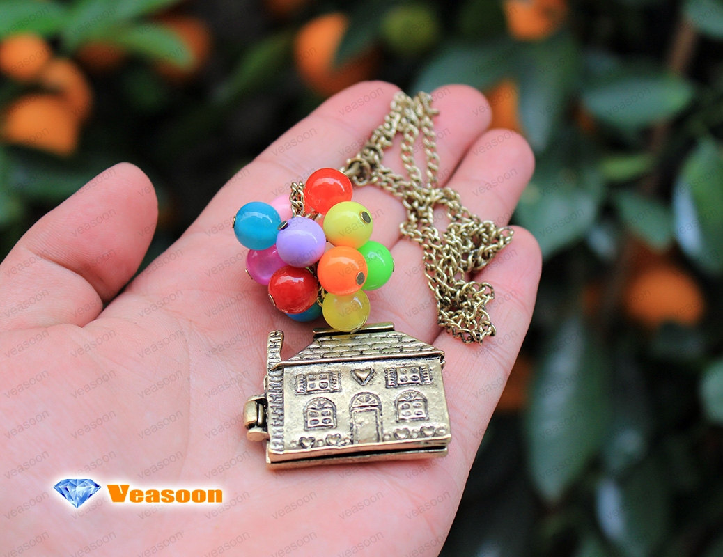 Up necklace, beadwork necklace/colorful balloons necklace/bead balloon necklace/flying house/flying dreams/up movie necklace/locket/