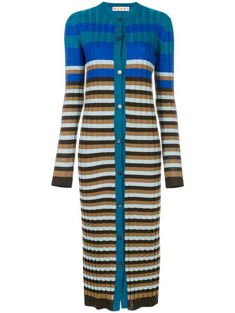 MARNI cardigan ribbed cardigan cardigan long women blue wool sweater