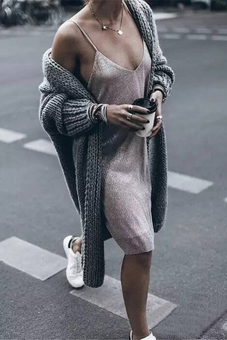 cardigan sweater fall outfits winter outfits grey long jumper jumper