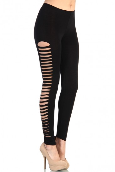 LoveMelrose.com From Harry & Molly | Side Cutout Leggings - Black