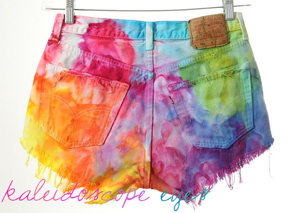 Vintage Levis 501 High Waist Rainbow MARBLED Dyed Denim Cut Off Shorts L on Wanelo
