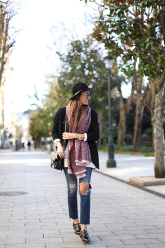 b a r t a b a c blogger jacket sunglasses hat oxfords ripped jeans blanket scarf shoes sweater jeans top bag scarf