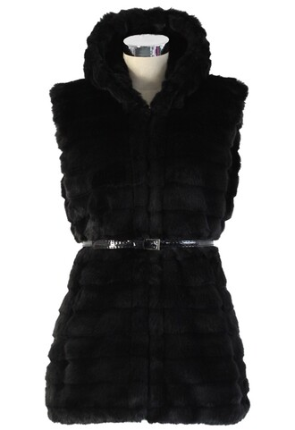 chicwish faux fur vest hooded coat
