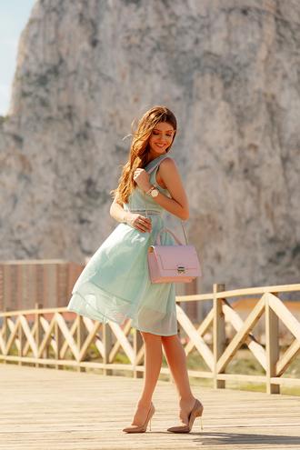 dress tumblr nude heels mint mint dress midi dress bag pink bag pumps pointed toe pumps high heel pumps sleeveless sleeveless dress spring outfits