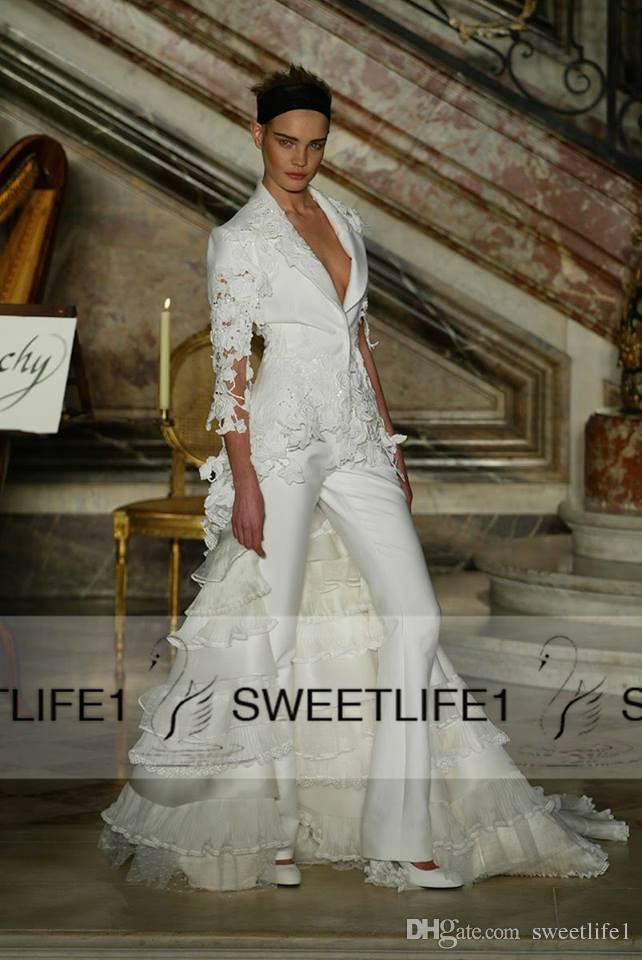 e6ec048a8e4 Elie Saab Pants Suits Two Pieces Sheath Satin Lace Evening Dresses V Neck  3 4 Long Sleeves ...