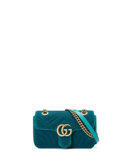 f27abce22 Gucci GG Marmont 2.0 Mini Quilted Velvet Crossbody Bag, Teal