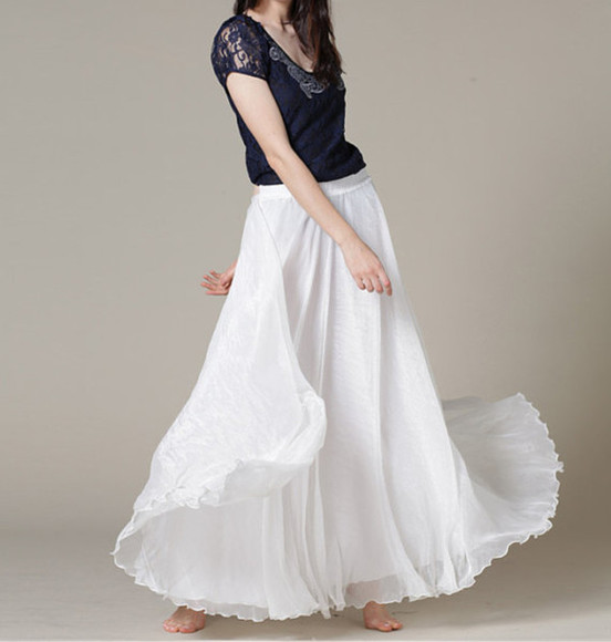 skirt white skirt summer skirt summer skirts white skirts chiffon skirt