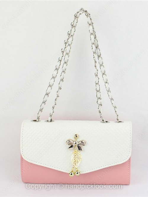 Pink Bow Pendant Chain PU Shoulder Bag - HandpickLook.com