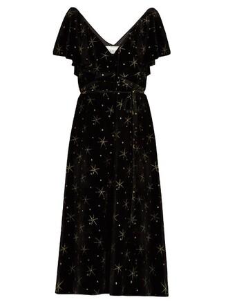 dress velvet dress glitter embellished velvet black
