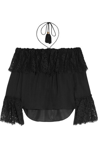 top chiffon lace black silk