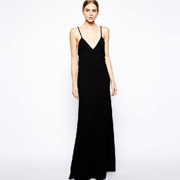 Dress Black Long Dress Clothes Black Dress Elegant Long Dress