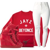 sweater,clutch,white pants,white jeans,jeans,crewneck,beyonce,couple,red,guiseppe clutch,dope,trill,outfit,outfit idea,wedge sneakers,Jay Z,ripped jeans,beyonce sweatshirt,beyonce fashion,skinny jeans,jacket