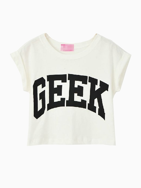 White GEEK Printed Crop Top With Roll-up Sleeves | Choies