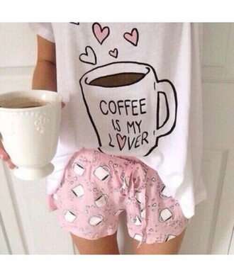 pajamas coffee pyjama shorts hipster it girl shop home decor kawaii dope cute casual pink tumblr girly weheartit shirt quote on it trendy fashion style white adorable outfit