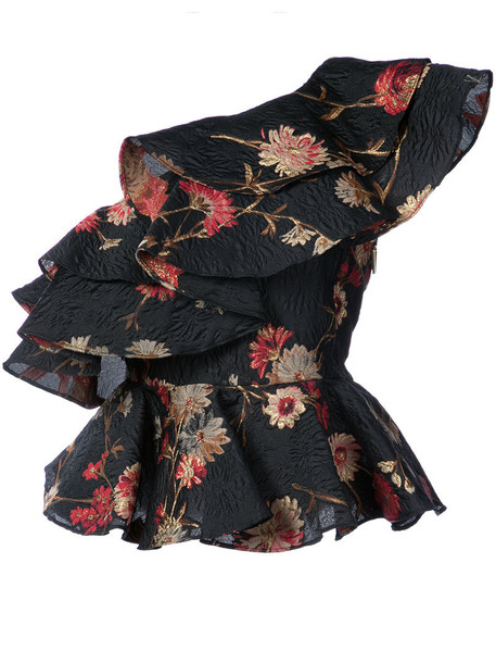 Prabal Gurung top ruffled top women floral black silk