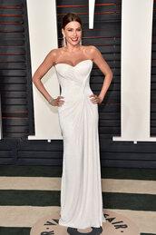 dress,gown,prom dress,white dress,sofia vergara,wedding dress,oscars 2016,sparkly dress,earrings
