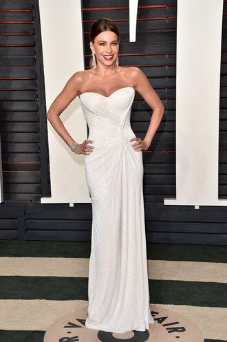 dress gown prom dress white dress sofia vergara wedding dress oscars 2016 sparkly dress earrings
