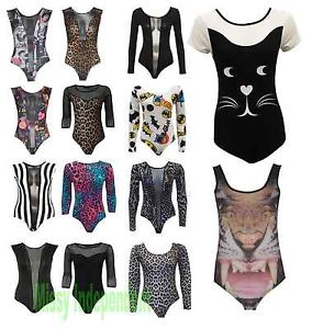 Womens Animal Leopard Black and White Stripe Mesh Insert Bodysuit Leotard 8-14 | eBay