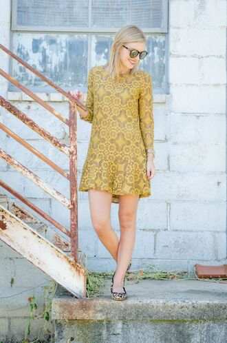 life with emily blogger dress mustard yellow dress lace dress mustard dress printed dress long sleeve dress spring dress short dress sunglasses mirrored sunglasses flats ballet flats animal print printed ballerinas leopard printed ballerinas