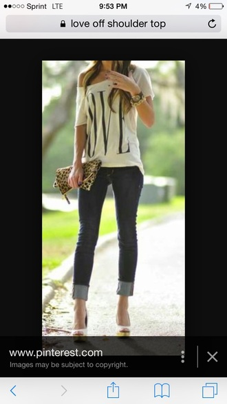 blouse off the shoulder top top love jewels jeans