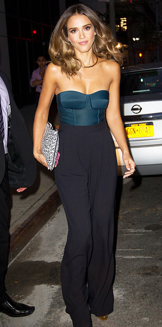 jessica alba pants bodysuit jumpsuit black bustier top chic celebrity style red lime sunday