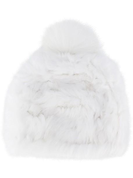 Yves Salomon bobble hat fur fox women hat white