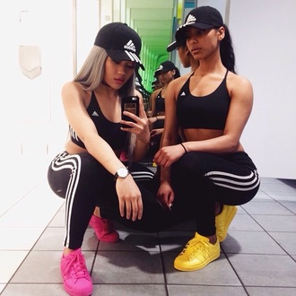 shoes adidas pink yellow sporting gear sports gear gym swag bra sports bra sports tights black and white black white stripes black top cheap clothing leggings stripes pants cotton black crop top tank top pants