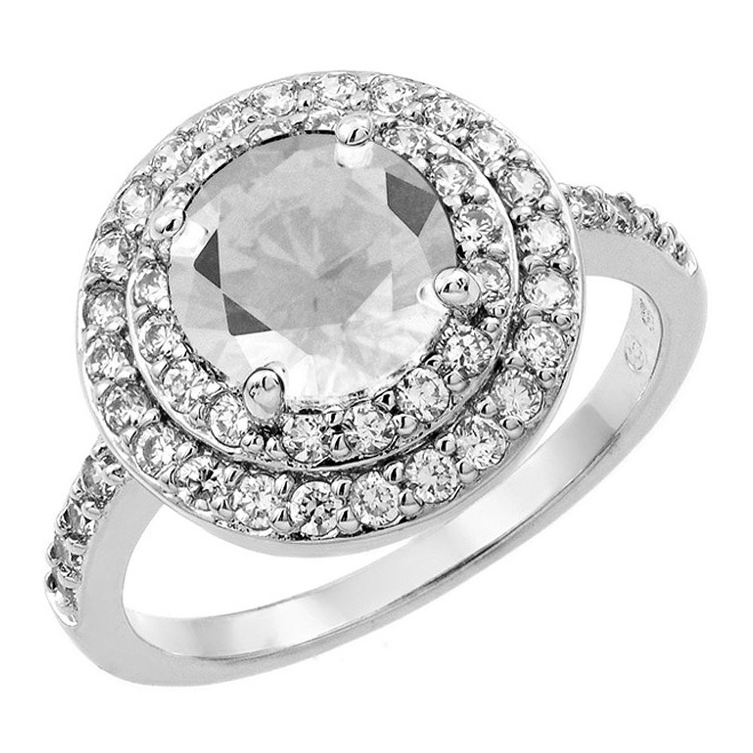 Amazon.com: Pave Set Double Halo Round Shape Cubic Zirconia Center Ring for Women: Jewelry