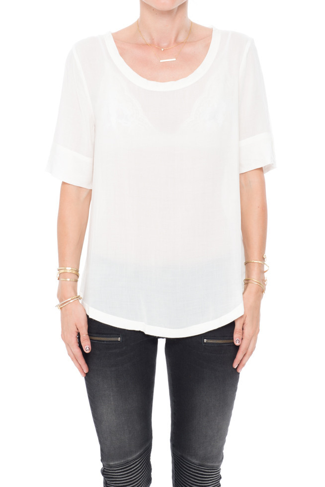Ivory boat neck blouse