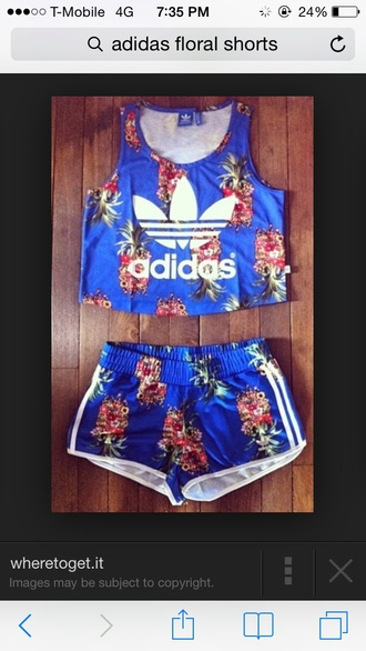 shorts jumpsuit tank top adidas tracksuit clothes top pants t-shirt adidas blue pineappl shorts top adidas