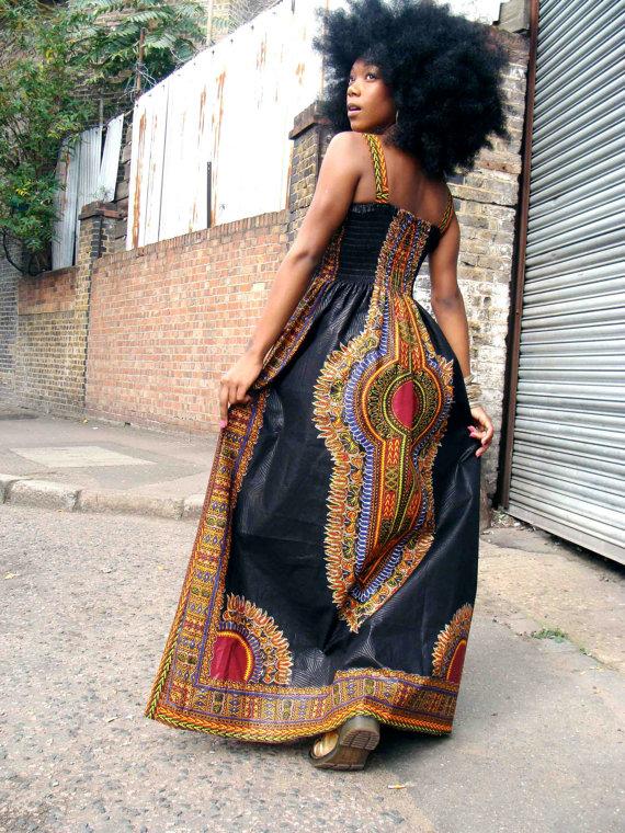 African Dashiki Diva Drucken Maxi Kleid S/M von dorisanddoris