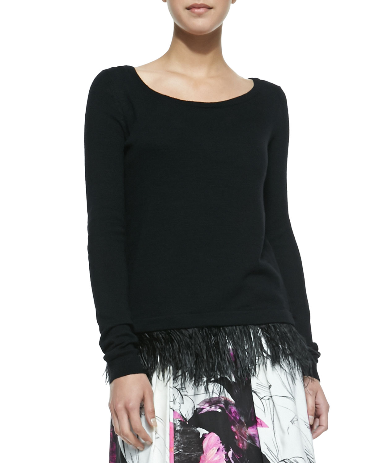 Milly Ostrich Plume Pullover Sweater
