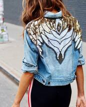 jacket,tumblr,denim,denim jacket,blue jacket,embellished,embellished jacket