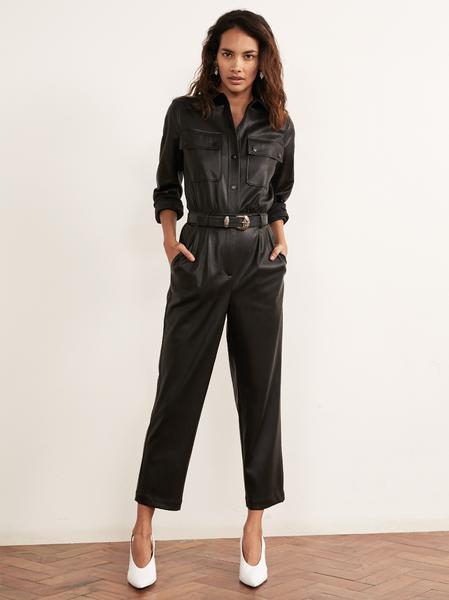 Fee Black Vegan Leather Jumpsuit