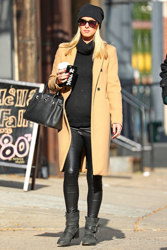 pants coat beanie boots nicky hilton fall outfits turtleneck turtleneck sweater maternity leggings streetstyle