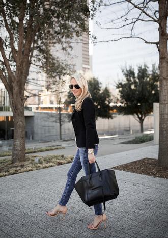 krystal schlegel blogger jeans jacket t-shirt shoes sunglasses celine bag blazer high heel sandals sandals skinny jeans