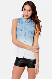top,ombre,shirt,denim shirt