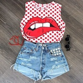 t-shirt,jewels,sunglasses,shorts,lip print,red,lips,white,spot,swag,shirt,red and white,polka dots,crop tops,tank top,lip,mini shorts,smith,smooth,kiss,sexy,red shirt,pretty,blouse,red polka dot crop top lips