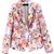 Multi Notch Lapel Long Sleeve Floral Pockets Blazer - Sheinside.com