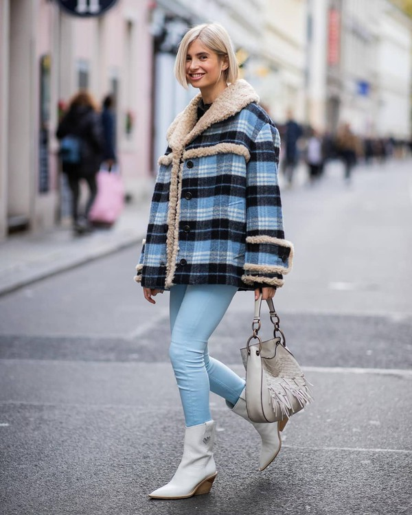 bffd51574793 coat checkered wool coat faux fur coat jeans skinny jeans ankle boots  handbag.