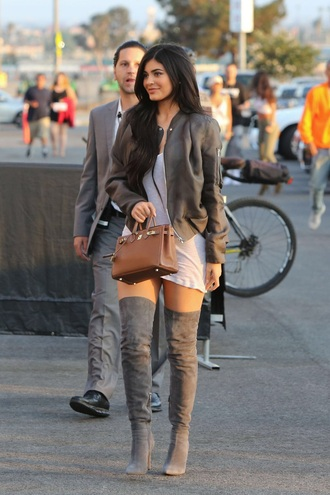 dress kylie jenner white dress over the knee boots bomber jacket grey boots knee high boots grey jacket